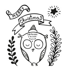 christmas greeting card with owl vector image