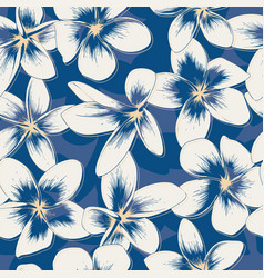 Classic blue floral seamless pattern vector