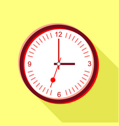 clock face with red numbers icon flat style vector image