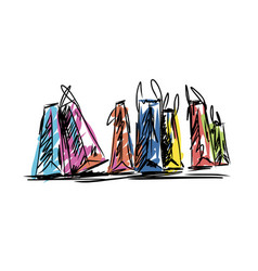 Colorful paper shopping bag fashion style vector