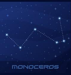 Constellation monoceros unicorn night star sky vector
