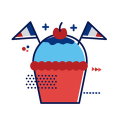 Cupcake with france flags flat style vector