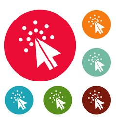cursor digital icons circle set vector image
