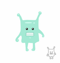 cute green cartoon monster vector image