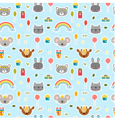 cute seamless pattern with cartoon animals happy vector image