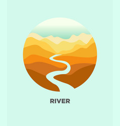 Desert river canyon landscape isolated icon vector