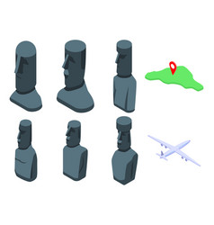 Easter island icons set isometric style vector