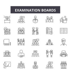examination boards line icons signs set vector image