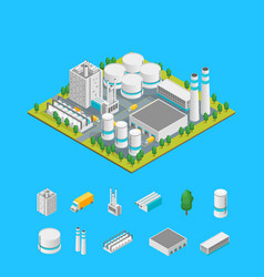 factory and elements concept 3d isometric view vector image