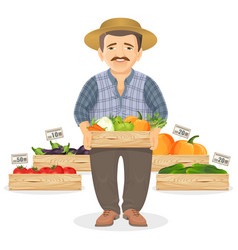 Farmer with wooden boxes of fresh vegetables for vector