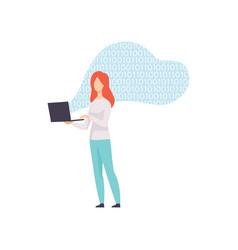 Female programmer character coding on laptop vector