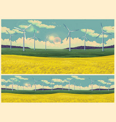 field and wind generators retro poster vector image