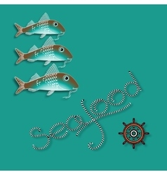 Fish nautical accessory and word Seafood vector