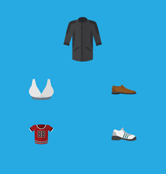 Flat icon clothes set of uniform male footware t vector
