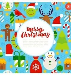 Flat Merry Christmas Greeting vector