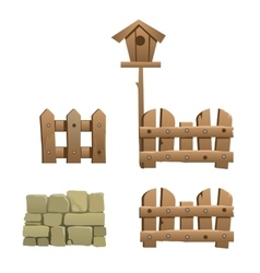 Fragments of wooden and brick fence with birdhouse vector