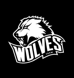 furious wolf sport mono logo concept vector image