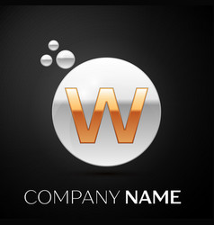 gold letter w logo silver dots splash and bubble vector image