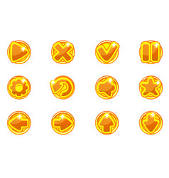 golden circles collection set glass buttons vector image