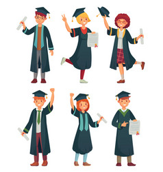 graduates students college student in graduation vector image
