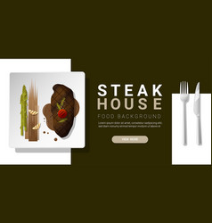 Grilled beef strip loin steak background vector