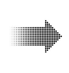 Halftone gradient dots arrow graphic element vector
