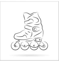Hand drawn roller skate over white vector
