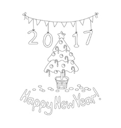 Happy New Year greeting card with spruce Coloring vector image