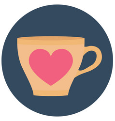 Heart teacup isolated icon editable vector