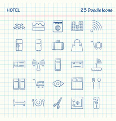 Hotel 25 doodle icons hand drawn business icon set vector