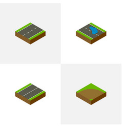 Isometric way set of sand plash driveway vector