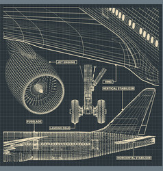 Jet airliner drawings in retro style vector