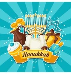 Jewish Hanukkah celebration card with holiday vector