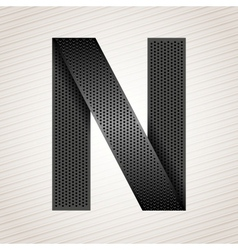 Letter metal ribbon - N vector image