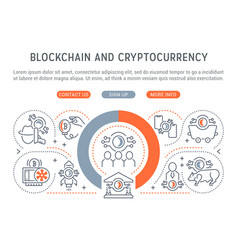 linear banner blockchain and cryptocurrency vector image