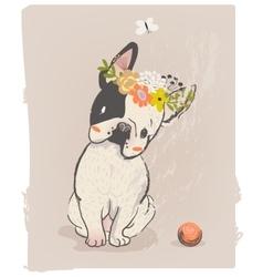 Little cute bulldog vector