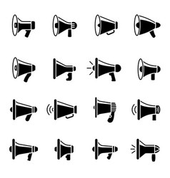 loud speaker icons megaphone silhouettes vector image