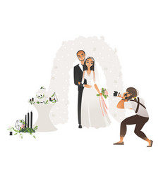 male photographer taking pictures wedding vector image