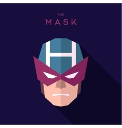 Mask superhero burgundy strict hero to flat design vector