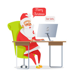 Merry christmas banner of santa mail isolated vector