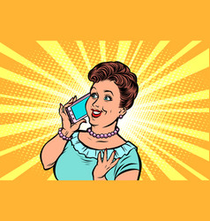 Middle-aged woman talking on the phone vector