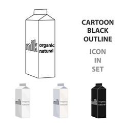 milk gable top carton package icon in cartoon vector image