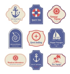 Nautical emblems set vector