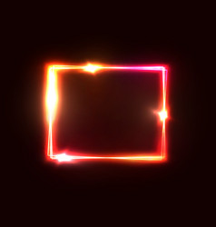 neon lights square background red rectangle frame vector image