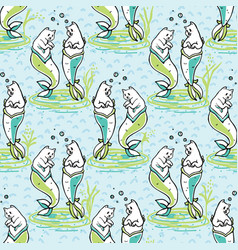 ocean aqua magical purrmaids blue fantasy pattern vector image