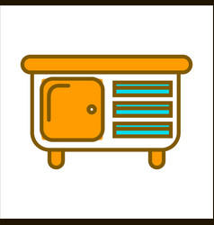 Orange commode with small drawers and big shelf vector