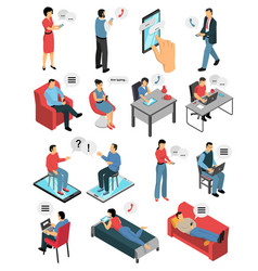 People chatting isometric icons set vector