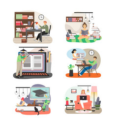 people studying at home in public library flat vector image