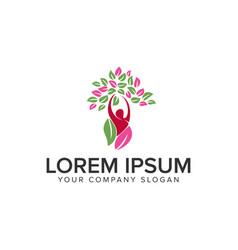 People tree healthy logo design concept template vector