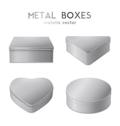 realistic 4 metal boxes set vector image